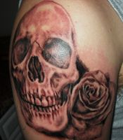 Skull and Rose Tattoo by McTats