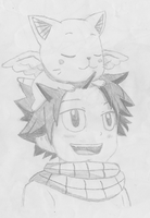 Natsu and Happy (when they were little) by awesome0607