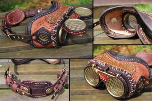 Mad Science Steampunk Goggles Large Stitching by Bluebenu
