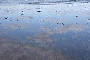 The Beach Reflection, Clouds In Wet Sand 2 by Miss-Tbones