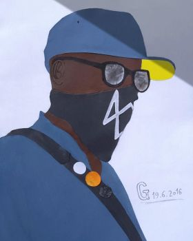 Marcus Watch Dogs 2 papercut collage portrait by MarikoSusie