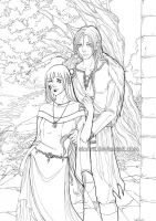 Lineart Sif and Yaroslav by sionra