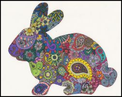 colored bunny for paisley-power contest by crazyruthie