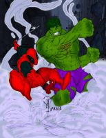 DeadPool vs Hulk - Colored by pascal-verhoef