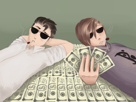 Pewi and Saju- meny guys,money... by XkabyHydroArt