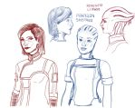 My Shepard with Liara - sketch by HellGrimo