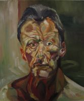 Reproduction of 'Reflection', by Lucien Freud by PortableParadise
