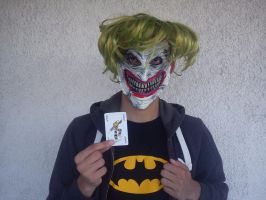Me wearing Joker's cutted face by greece4life