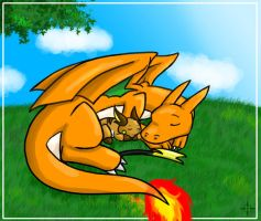 Charizard and Raichu by Angel-soma