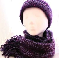 Purple striped scarf and hat by evilkillerpoptarts