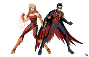 Wondergirl and Red Robin Commission by phil-cho