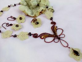 Jewelry set with lace flower by Mirtus63