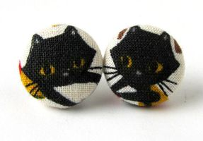 Cat earrings kawaii children kids cute black by KooKooCraft