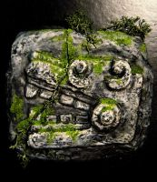 Mayan stone carving imitation by cobayanigiri