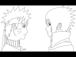 Sage vs Sharingan LINEART by nelsonaof