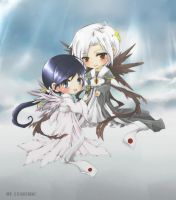 Chibi Mateus and Amane colored by chocobikies