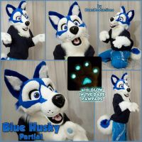 Blue husky partial by PlushiePaws