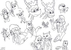 Spyro the Dragon Character Doodles by SimonArty