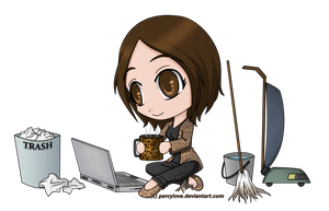 Commission - chibi - J.A. - laptop/clean by percylove
