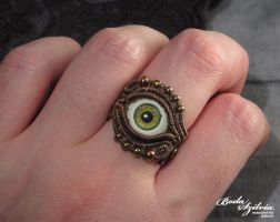 Green and copper evil eye ring by bodaszilvia