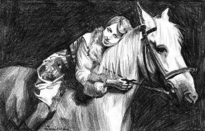 white horse by Lady-Poltergeist