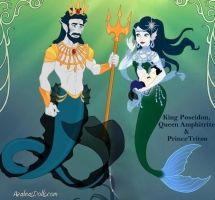 King Poseidon, Queen Amphitrite and Prince Triton by LadyRaw90