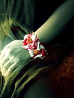 Silk Batik Red White Bracelet by popnicute