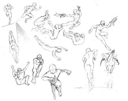 Action Poses 4 Leaping  Diving By Shinsengumi7 by furrycrusader17