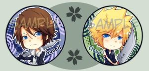 Cloud and Squall buttons by Quiss