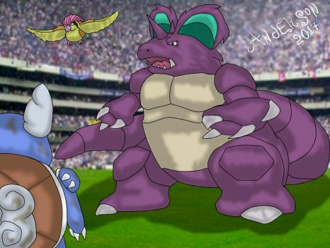 Nidoking vs Wartortle by AndyGarchomp