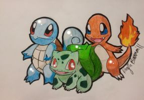Squirtle Bulbasaur and Charmander by ApocalypseKitty