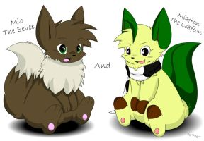 Mio The Eevee And Miafeon The Leafeon by Zander-The-Artist