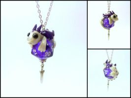 Pearl Dragon w/ Sword on Purple D20 - Necklace by Euphyley