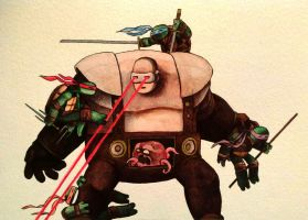 TMNT vs Krang watercolor by legumebean