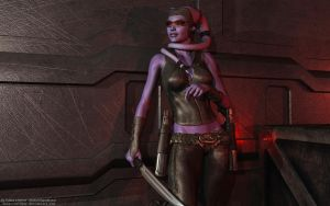 Purple Twi'lek Bounty Hunter by Dendory