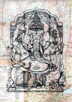 Ganesha - Screen Printed Map by piratesofbrooklyn