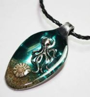 Octopus Altered Art Resin Spoon Pendant by Create-A-Pendant