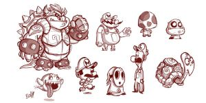 Mario Sketches by BrokeJonez