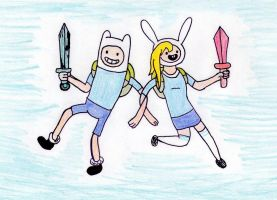 Finn and Fionna by Pyroraptor42