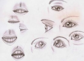 human face study - eyes and mouths by LonlyAntelope