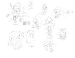 Sonic Bubbly Fall Sketches by SuperSonicBros2012