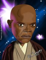 Mace Windu Cartoon by Cuervex