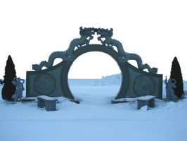 Oriental Stone Dragon Gate by FantasyStock