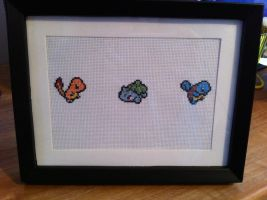 Three Starters - framed cross stitch by Eisoptrophobic
