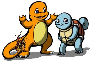 Charmander and Squirtle by cupil