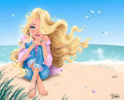 Sunny day on the beach with Barbie by darkodordevic