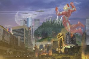 Godzilla vs. Ultraman by manguy12345