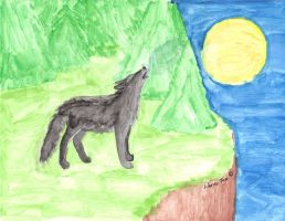 wolf howling on the night cliff by ZNwolflove