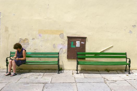 two benches and a reader by idobranovic