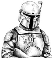 Portrait of a Mandalorian BW by Lunar-lce